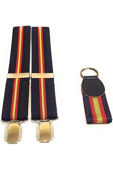 Tirantes elásticos caballero Azul Bandera España y regalo de llavero con la bandera de España: Amazon.es: Ropa y accesorios