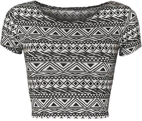 WearAll - Femmes Aztec Tribal court tronçon Cap Sleeve Vest Crop Haut - Femmes - Petit Aztec - 36-38