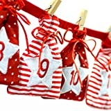 Image of Frau WUNDERVoll Adventskalender 31 - Stoff, rot weiß - Weihnachtskalender Bastelset Adventskalender Adventskalender zum Befüllen
