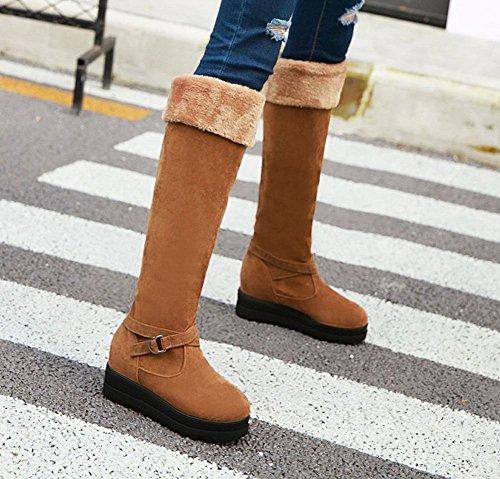 Mee Shoes Damen runde Pompon langschaft Nubukleder Stiefel Gelb
