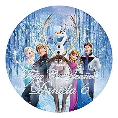 OBLEA de Papel de azúcar Personalizada, 19 cm, diseño de Disney Frozen Bosque por Decoraciones Personalizadas
