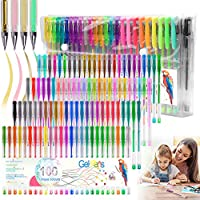 100 Colours Glitter Gel Pen Set Neon Glitter Colouring Pens Art Marker for Adult Coloring Books