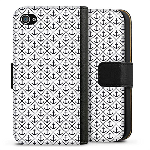 Apple iPhone X Silikon Hülle Case Schutzhülle Anker Anchor Muster Sideflip Tasche schwarz
