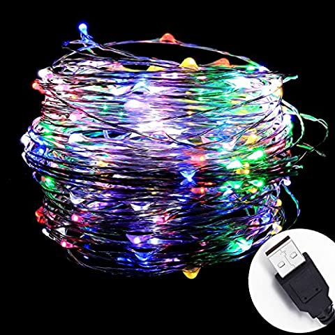 InteTech®10meters 100 LEDs Micro Copper Wire Waterproof LED String Lights Indoor Outdoor Starry String Lights Lighting DIY Decoration for Bedroom Jars Garden Camping Festive Wedding Christmas Party (Colours)