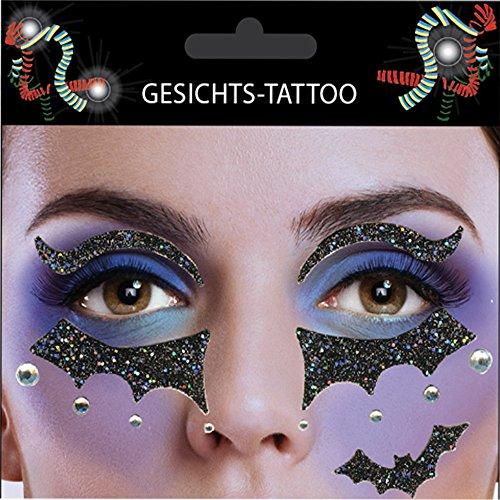 Gesichts-Tattoo Face Art Halloween Karneval Fledermaus