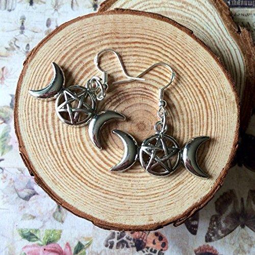 Dreifacher Mond Göttin Ohrringe, dreifacher Mond Ohrringe, Pentagramm Ohrringe, drei Moon Ohrringe, Wicca, Halloween Schmuck,