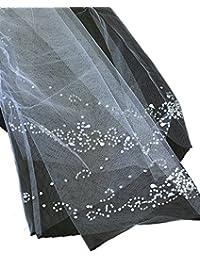 Superbe voile de mariéee en tulle à simple épaisseur sans bordure, avec petites billes brodées. Produit offert par NYfashion101.