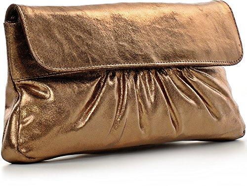 CNTMP, Borsa da Donna, Clutch, Borsa a Mano, Pochette, Borsetta da Sera, Effetto Metallico, Con Tasca in Pelle, 31x15x2,5cm (L x H x P) bronzo