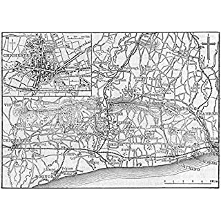 SUSSEX. Chichester & west, sketch map - 1898 - old antique vintage map - printed maps of Sussex