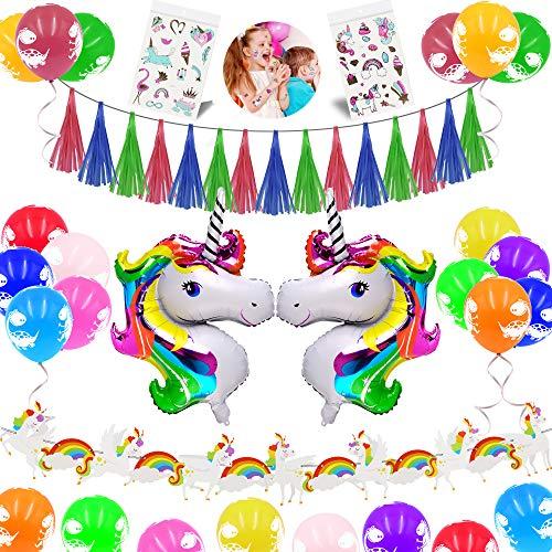 JUSTIDEA Einhorn Happy Birthday Party Luftballons Dekoration, 34pcs Baby Kids Birthdays Sets Folienballons Einhorn Ballons Einhorn Aufkleber Konfetti Latex Band Einhorn Papier Banner Party Favor