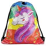 KUUQA Sirena Borsa Morbida Paillettes Unicorn Bag Magia Reversibile Luccichio Lustrino Unicorno Zaino Danza Palestra Borsa, Regalo di Compleanno per Bambini Ragazze