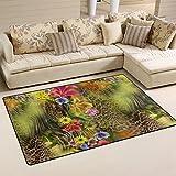 BENNIGIRY Blume Leopard Zebra Rutschfeste Bereich Teppich Pad Teppichunterlage für Harte Böden, Rutschfeste Teppich Matte Teppich Untergrund für Wohnzimmer Schlafzimmer 80x 50cm (78,7x 50,8cm)