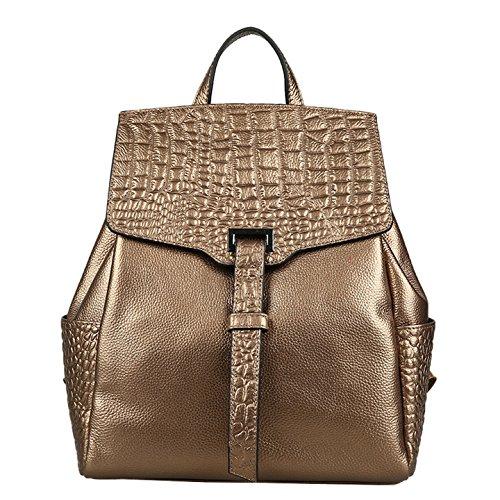 Dissa Q0537 femme sac à main cuir solide Sacs portés dos,29x34x13cm (L x H x T) Bronze