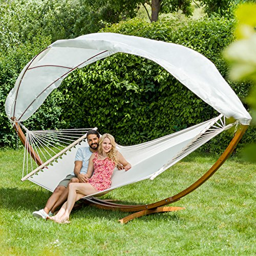 TecTake XXL HARD WOOD DOUBLE HAMMOCK WITH HAMMOCK FRAME WOODEN ARC STAND WITH ROOF BED SUN GARDEN