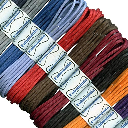 2 mm Round Waxed Cotton Shoelaces - 45 to 120 cm lengths - 16 colours - Thin laces for dress shoes and boots.