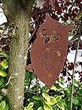 Edelrost Eule zum einschlagen in Baum / Holz Rostdeko