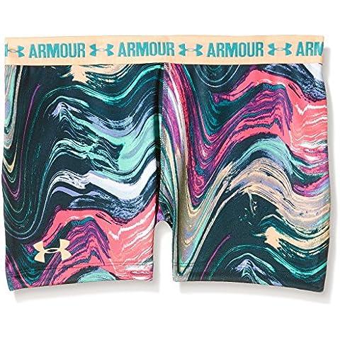 Under Armour Pantaloncini fitness da ragazza, 7,62 cm, stampati, Bambina, Fitness 3 Zoll Printed Shorty, Pine Shadow, S
