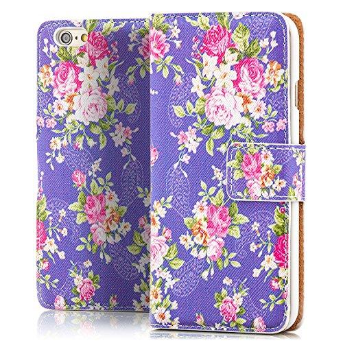 iPhone 6 / 6S Hülle Flip Tasche [Saxonia] Schutzhülle Case mit Kartenfach Motiv Blumen Blau Violett