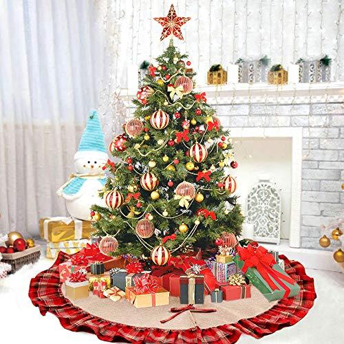 Deggodech Jute Leinen Weihnachtsbaum Rock 48zoll/122cm Groß Weihnachtsbaumdecke Rot und Schwarz Plaid Rüschen Weihnachtsbaum Röcke Ornaments für Weihnachten Baum Rock Deko Weihnachtsdekoration