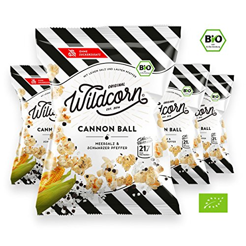 Wildcorn - salziges Popcorn - Meersalz Schwarzer Pfeffer (4x50g) | gesunder Snack | leckere Alternative zu Chips | Superfood für Büro, Unterwegs, Kino | vegan | 100% Bio | ohne Zuckerzusatz | glutenfrei | Healthy Food | Cannon Ball