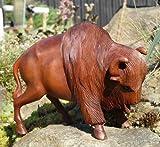 BISON Holz Tier großer Büffel Stier Wisent Bulle Kuh
