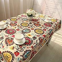 Mantel de tela de algodón natural y puntilla de lino, con diseño de flores,