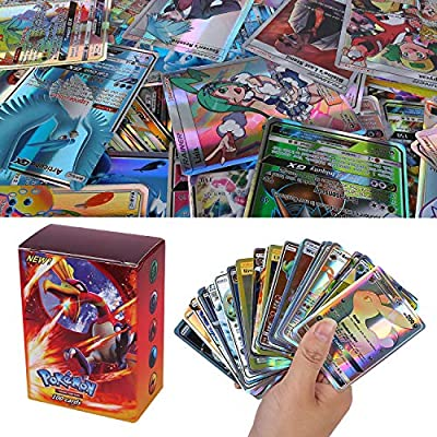 100 Piezas Pokemon Cartas, Pokemon Trading Cards, Sun & Mood Series 20th Aniversario Cartas GX Cartas MEGA Energy Trainer Cartas (80GX + 5Mega + 15Trainer) de Colfeel