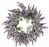 artplants Künstlicher Lavendelkranz LODOS, violett, Ø 30 cm - Türkranz/Dekokranz Kunstblumen