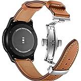 Myada 22MM Correa para Samsung Galaxy Watch de 46 mm in Piel auténtica, Correa Deportiva de Metal con Hebilla de Mariposa par