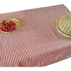 NiSeng Decoracion de manteles a cuadros de encaje Manteles de tela de lino antimanchas rectangular para restaurantes Rojo 140x160 cm