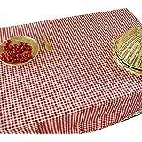 NiSeng Decoracion de manteles a cuadros de encaje Manteles de tela de lino antimanchas rectangular para restaurantes Rojo 140x220 cm