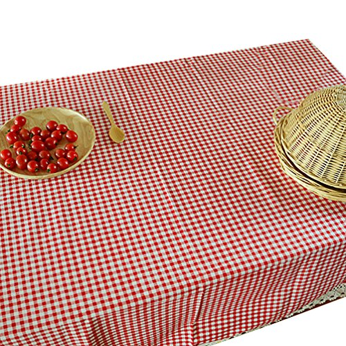 NiSeng Decoration de Table - Nappe de Table en Lin a Carreaux pour Table Rectangulaire, Table Carrée d Table Ronde/Nappes avec Dentelle Anti Taches Rouge 140x220 cm