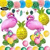Decoración tropical hawaiana, SPECOOL 52PC Artículos para fiestas en la playa con piña...