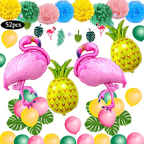 pical Dekoration, 52PC Beach Party Supplies mit bunten Ananas Flamingo Ballons Palm Simulation verlässt Banner Papier Pom Poms für Luau Party Dschungel Sommer Tischdekorationen ()
