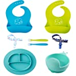 Baby Feeding Set,Silicone 2 Waterproof Bibs 1 Plate 1 Bowl 2 Spoons and 2 Pacifier Clips for Baby or Toddler-Spend Less...