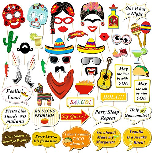 Howaf 56 Stück Mexikanische Fiesta Photo Booth Props Fotorequisiten Foto Accessoires Hüte Brillen Masken für Mexikanische Dekoration Hochzeit Geburtstag Babyparty