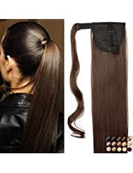 "26"" Queue de Cheval Postiche Extension de Cheveux Lisse - Wrap Around Ponytail Clip in Hair Extensions - Marron (66cm-135g)"