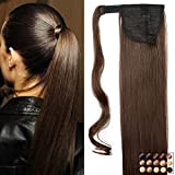 23' Queue de Cheval Postiche Extension de Cheveux Lisse - Wrap Around Ponytail Clip in Hair Extensions - Marron (58cm-120g)