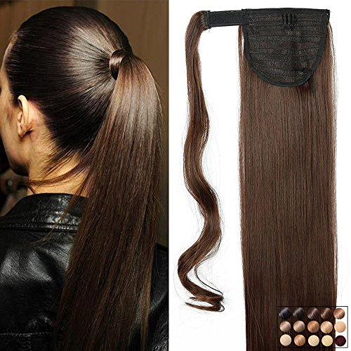 "23"" Queue de Cheval Postiche Extension de Cheveux Lisse - Wrap Around Ponytail Clip in Hair Extensions - Marron (58cm-120g)"