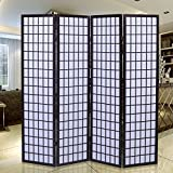 Costway Room Divider Screen Privacy Tokyo SHOJI Movable 4 Panel Partition Separator (Cherry)
