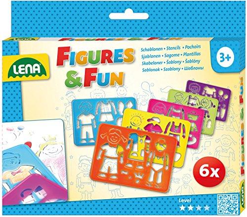 Lena 65750 - Zeichenschablonen Set, mit 6 Schablonen mit je 1 Figur, dazugehöriger Kleidung und Zubehör, Malschablonenset für Kinder ab 3 Jahre, Malvorlagen zum Zeichnen lernen und Ausmalen -