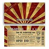 Einladung Geburtstag VIP Eintrittskarte Ticket Karte Einladungskarten Vintage (60 Stück)