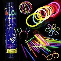 Varitas Luminosas Fluorescentes, 100 Glow Sticks Glow In The Dark Pulseras, Kit de Luz Fluorescentes Brillantes Diversos Colores para Fiestas, Cumpleaños, Bodas (Colores Mezclados)