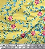 Soimoi Gelb Satin Seide Stoff Blätter, Eule & Blüte Blume