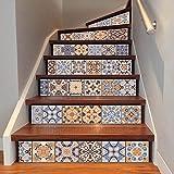 QQA Treppen Aufkleber Wasserdicht Selbstklebend Abnehmbar DIY Gang Zuhause Dekoration 6Pc