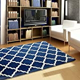 Littlelooms Blue TRELIS Design Kids Rugs For Crawling Rattle Play Baby Carpet Multifuntion Play Mat For Toddler Kids Play Room Home Decor For Nursery Kids Room 0-12 Years 4 X 6 (Feet)