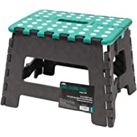 JVL Small Folding Step Stool, Grey/Turquoise,