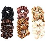Lurrose 12pcs raso capelli scrunchies capelli elastici legami di colore solido corda per capelli ponytail titolari per le don