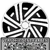 Eight Tec Handelsagentur (Größe und Farbe wählbar) Radzierblenden 15 Zoll – CYRKON (Schwarz-Weiß) passend für Fast alle Fahrzeugtypen (universell)!