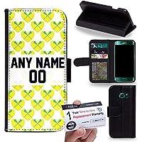 Case88 [Samsung Galaxy S6 Edge] Custodia in PU Pelle, Supporto Stand e Porta Carte Integrati Portafoglio Flip Cover - Personalizzata Sports Design Girls Lacrosse DSE0197